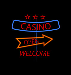 billboard casino with arrows on a black vector image