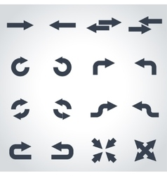 black arrows icon set vector image