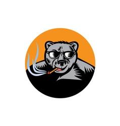 Black Bear Sunglasses Cigar Circle Woodcut vector