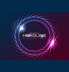 blue purple neon effect rings logo background vector image