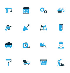 Building colorful icons set collection of lifting vector