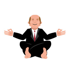 business yoga businessman meditating isolated vector image
