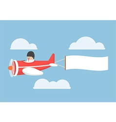 Businessman flying by the airplane with banner vector image vector image