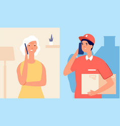 Call to delivery man woman talking on smartphone vector