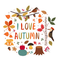 card with autumn colorful elements vector image