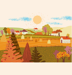 cartoon flat village with colorful scenery vector image