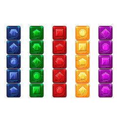 cartoon gems multi-colored stone buttons for ui vector image