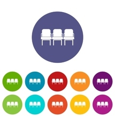 Chairs in the departure hall set icons vector image