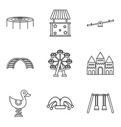 Childrens community icons set outline style vector