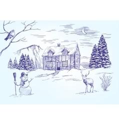 Christmas night Christmas card hand drawn vector image