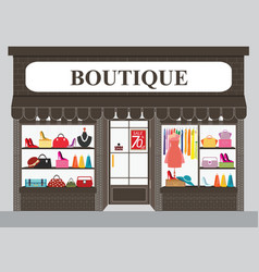 Clothing store building and interior with vector