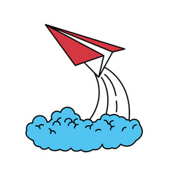 Color sectors silhouette of paper plane launch vector