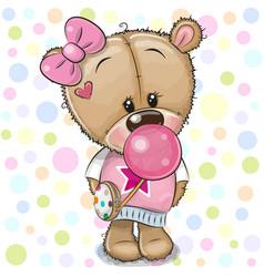 Cute cartoon teddy bear girl with bubble gum vector
