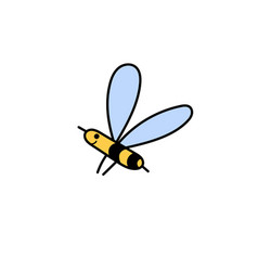 cute flying bee isolated element insect character vector image