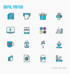 Digital printing thin line icons set vector