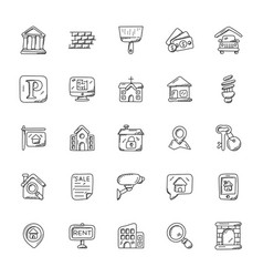 Doodle icons of real estate vector