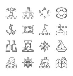 Editable stroke marine nautical line icon set vector
