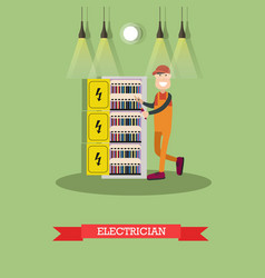 electrician concept in flat vector image