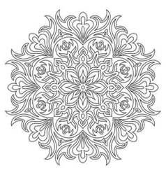 Ethnic mandala symbol for coloring book vector image