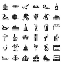exhibition icons set simple style vector image