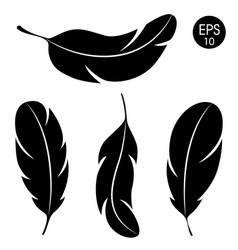 feathers set black feather silhouette vector image