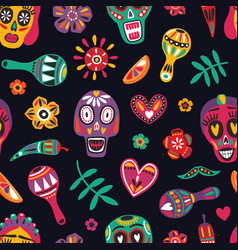 Festive seamless pattern with decorative skulls vector