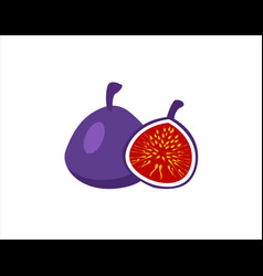 fig purple whole fruit and halfsummer tropical vector image