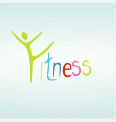 fitness and healthy exercise word and icon cloud vector image
