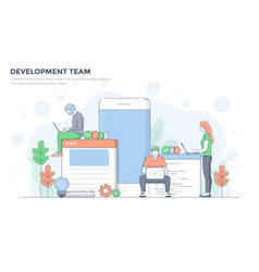 Flat line modern concept - development team vector