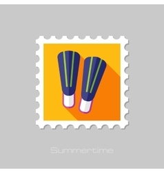 Flippers flat stamp with long shadow vector image