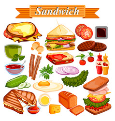 food and spice ingredient for sandwich vector image