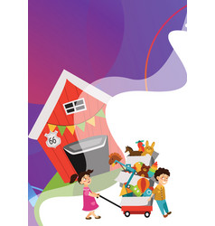 garage sale boy and girl bought toys at spring vector image
