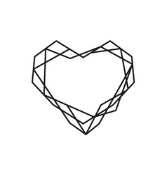 Geometric symbol heart shape frame with vector