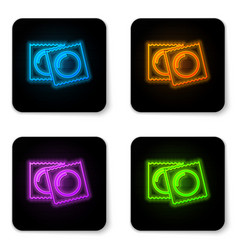 Glowing neon condoms in package safe sex icon vector