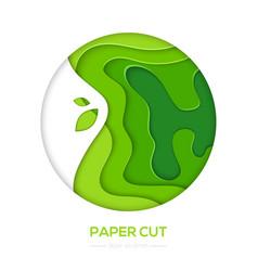 Grass green abstract layout - paper cut vector