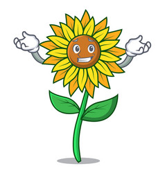 Grinning sunflower character cartoon style vector