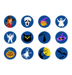 halloween round icons set vector image