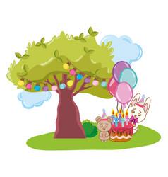 happy birthday animals vector image