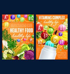 healthy nitrition vegetables and fruits vitamins vector image