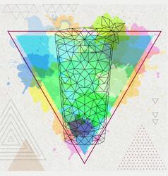 Hipster polygonal cocktail mojito vector
