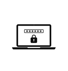 Icon laptop with lock and password for safety vector
