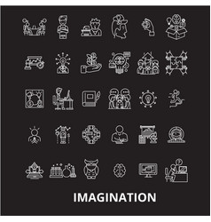 imagination editable line icons set on vector image