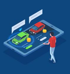 Isometric sedan car rent purchase carsharing 3d vector