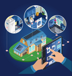 Isometric smart home management concept vector