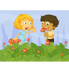 Kids picking up flowers in the garden vector image