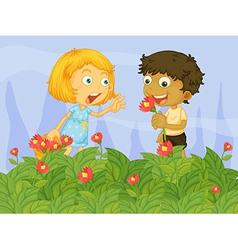 Kids picking up flowers in the garden vector