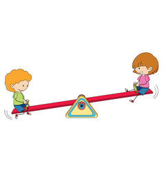 Kids playing seesaw on white background vector