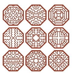 Korean traditional patterns ornaments vector