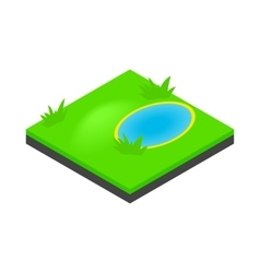 Lake landscape icon isometric 3d style vector