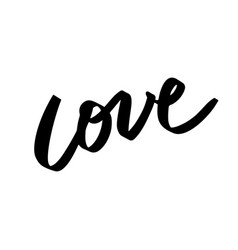 Love lettering hand written word in contemporary vector
